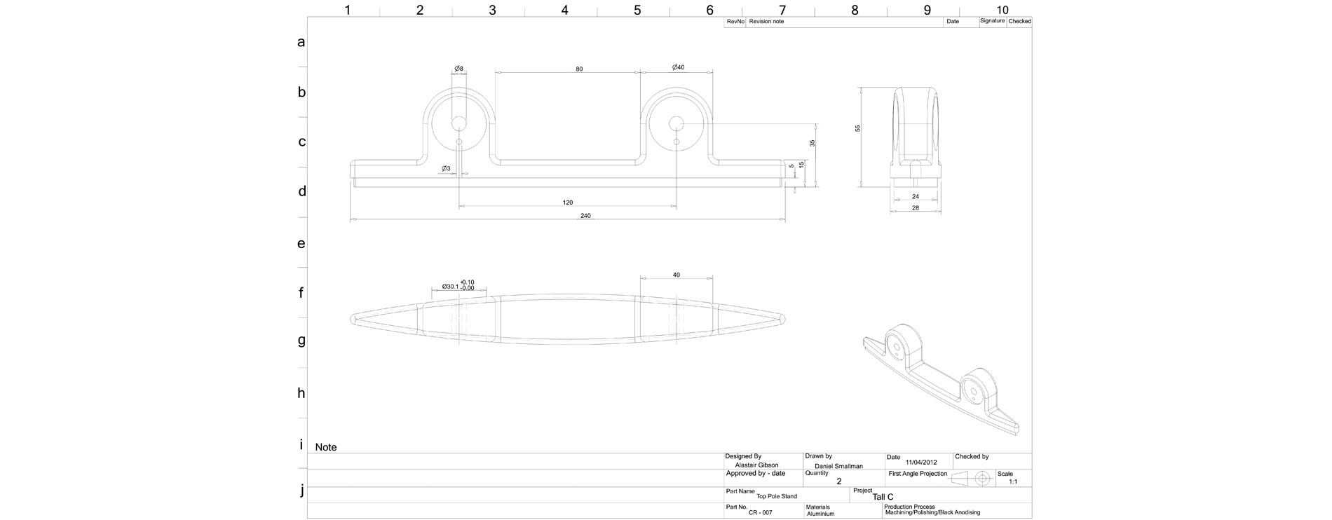 Coat Rack Technical Drawing
